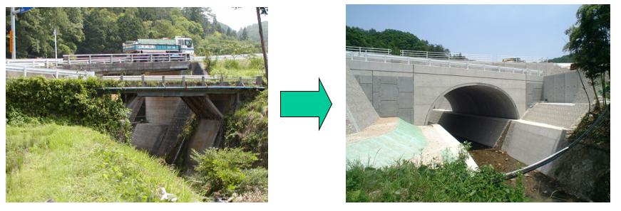 橋梁代替案に使用されたアーチカルバート(テクスパン)