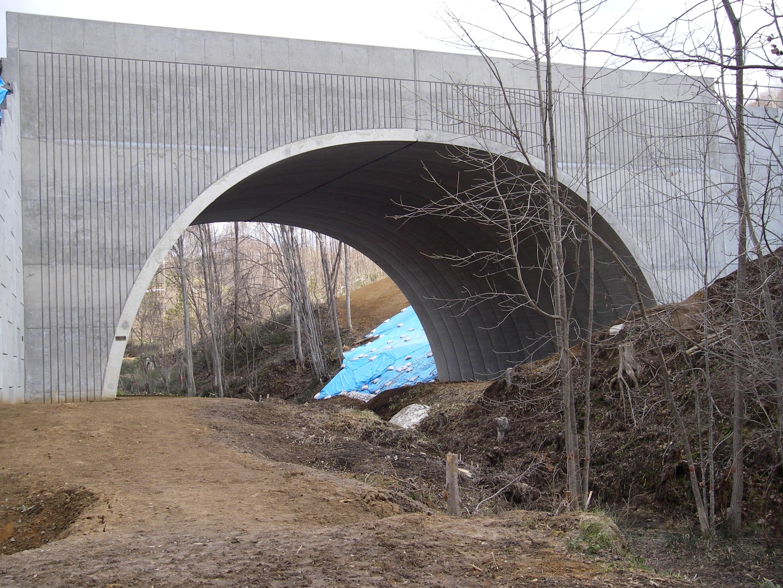 橋梁代替として採用されたアーチカルバート(テクスパン)