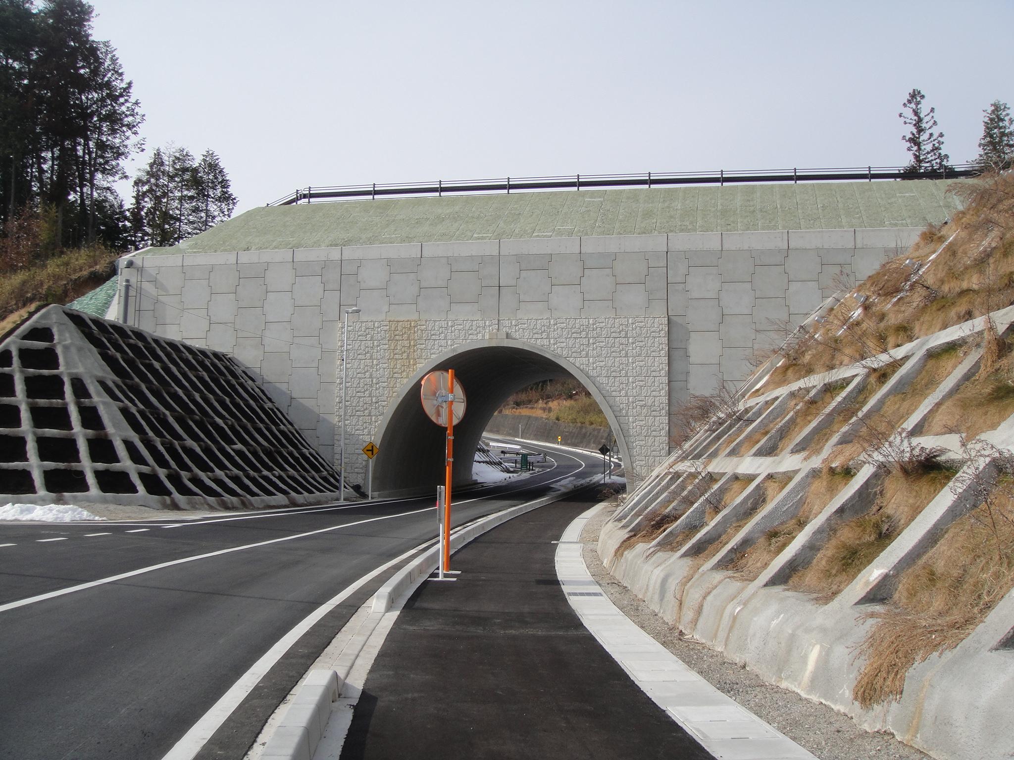 跨道橋に使用されたアーチカルバート(テクスパン)